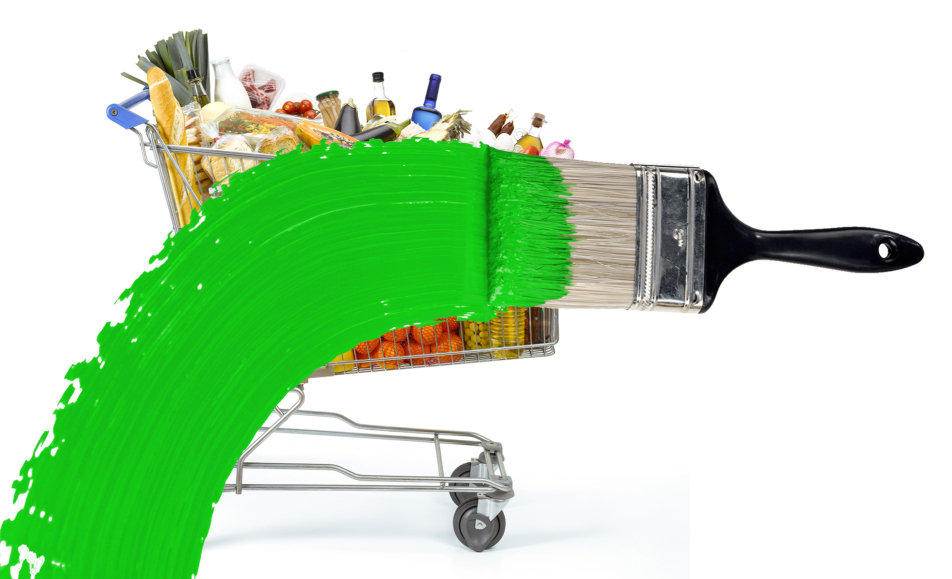 Greenwashing image from greenbiz website. Paintbrush covering a trolley of groceries with a stripe of green paint